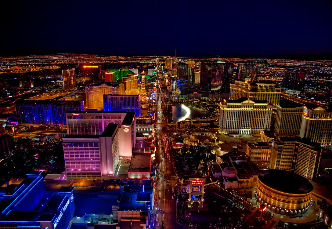 Picture Of Las Vegas From A Bird's-Eye-View During The Night