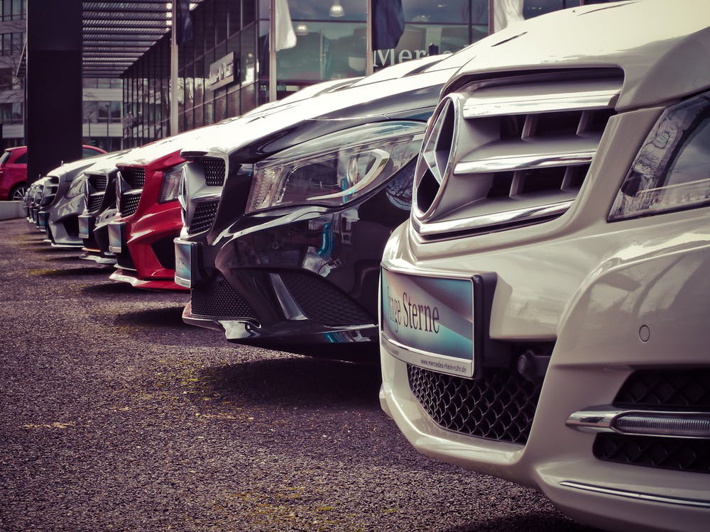 Mercedes Models Parked In A Line