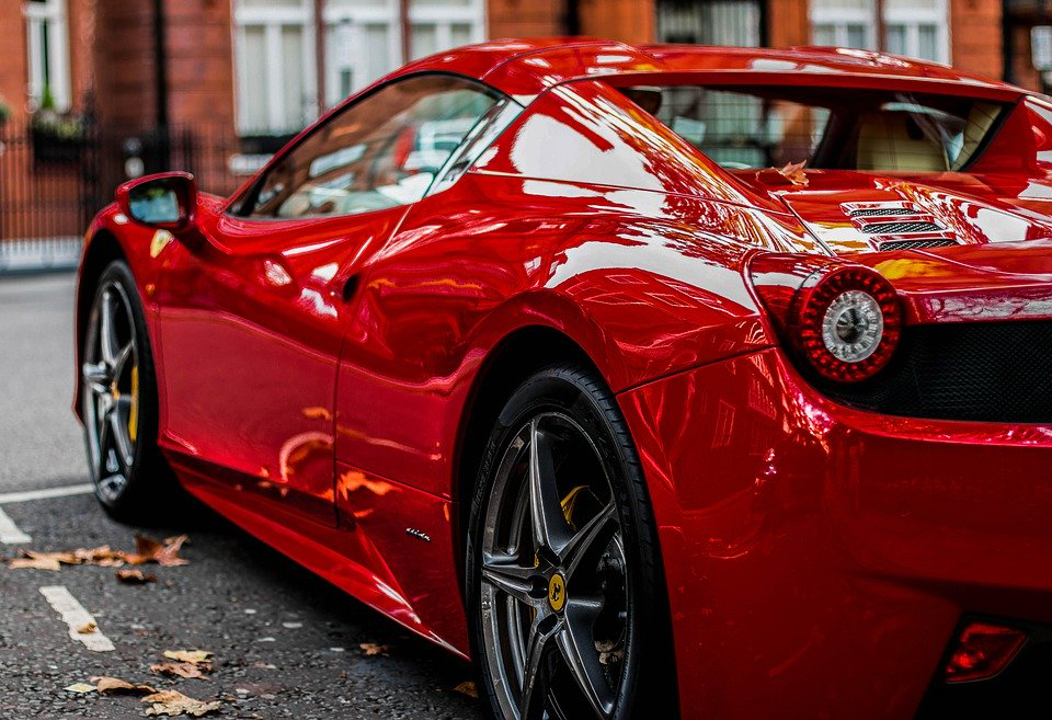 Diagonal Shot Of A Cherry Red Ferrari 458 Spider