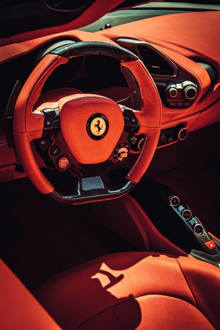 Interiors of a Ferrari