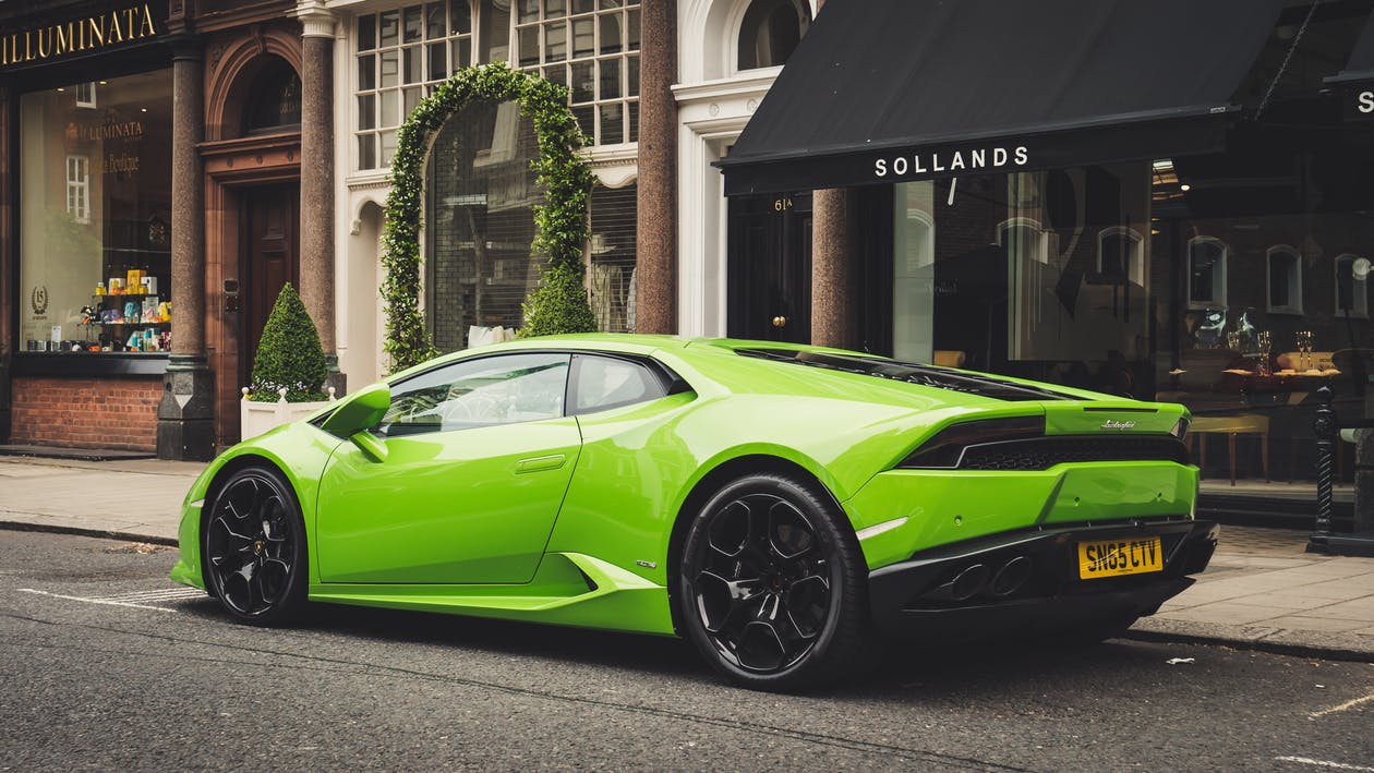 Lime Green Lamborghini Parked In The Street In Las Vegas
