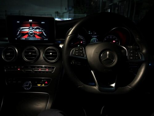 The interior of a Mercedes