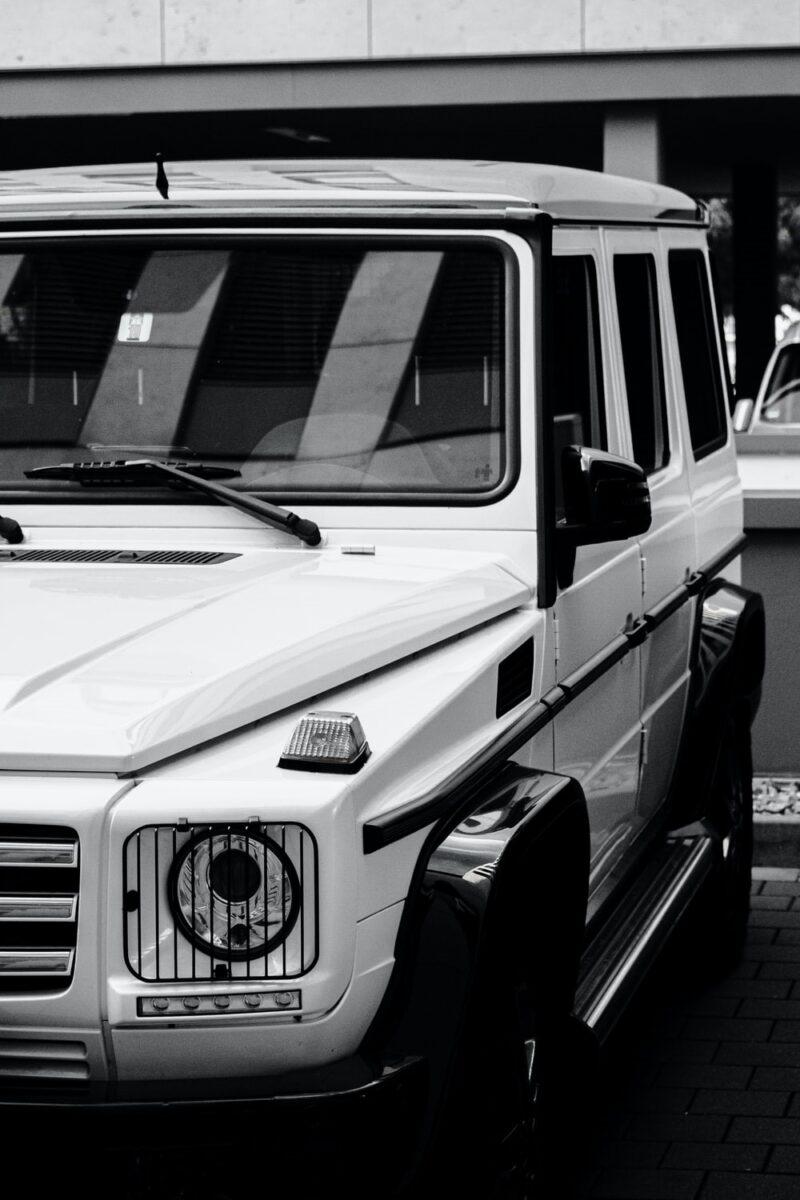 White Mercedes G 63 parked outside