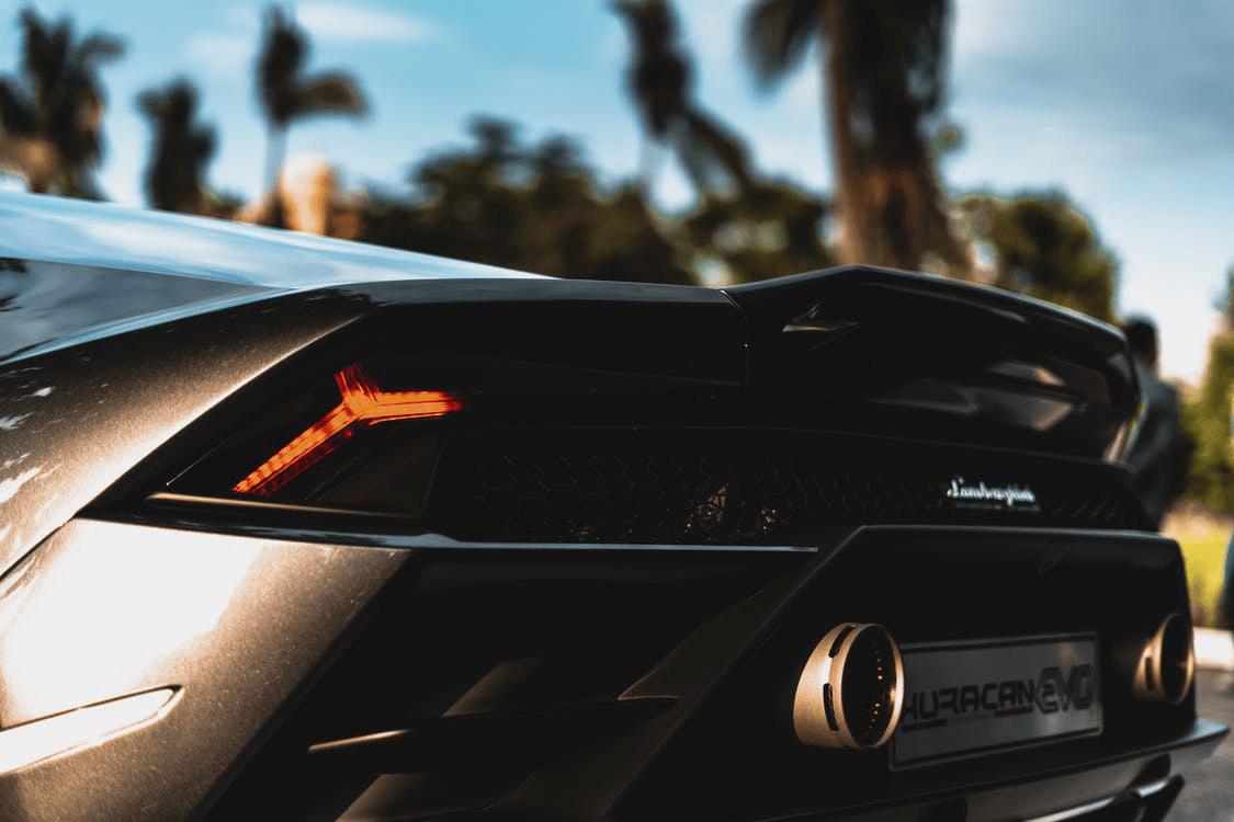 black Lamborghini Huracan tail lights
