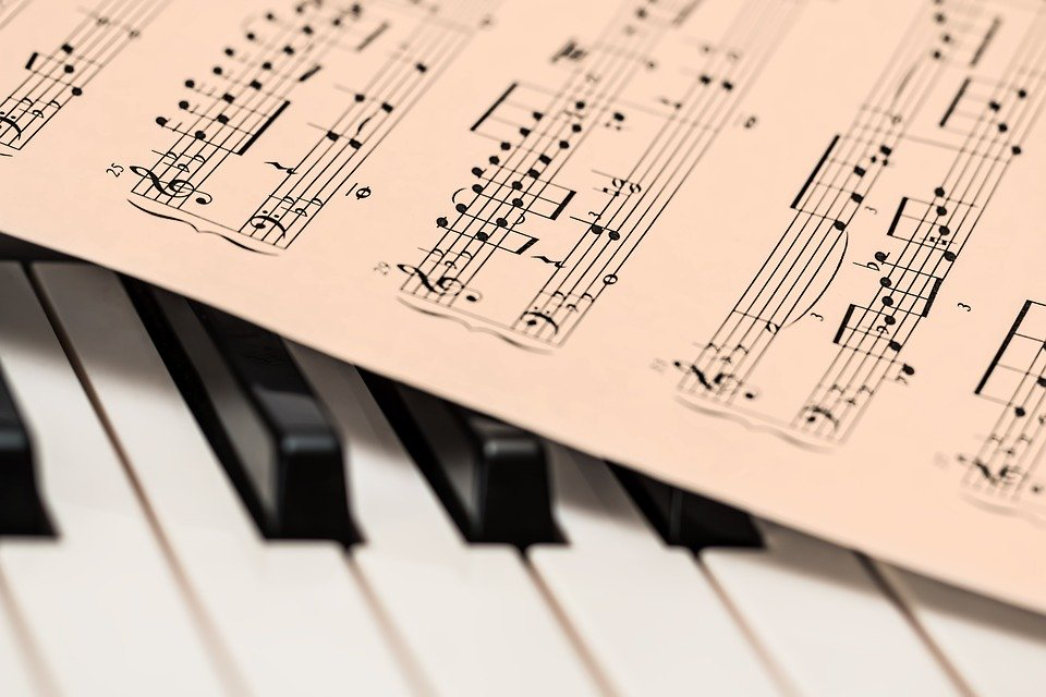 musical notes on a piano